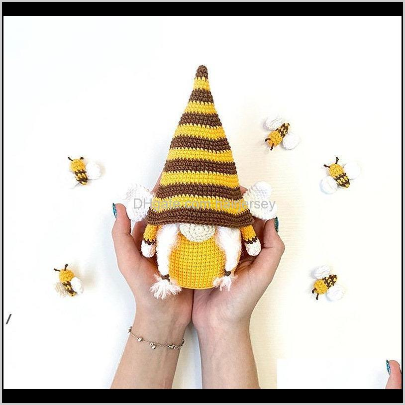 party supplies bee festival knitted plush doll ornaments cute dwarf sunflower faceless elf decorations 6 styles nhd6052
