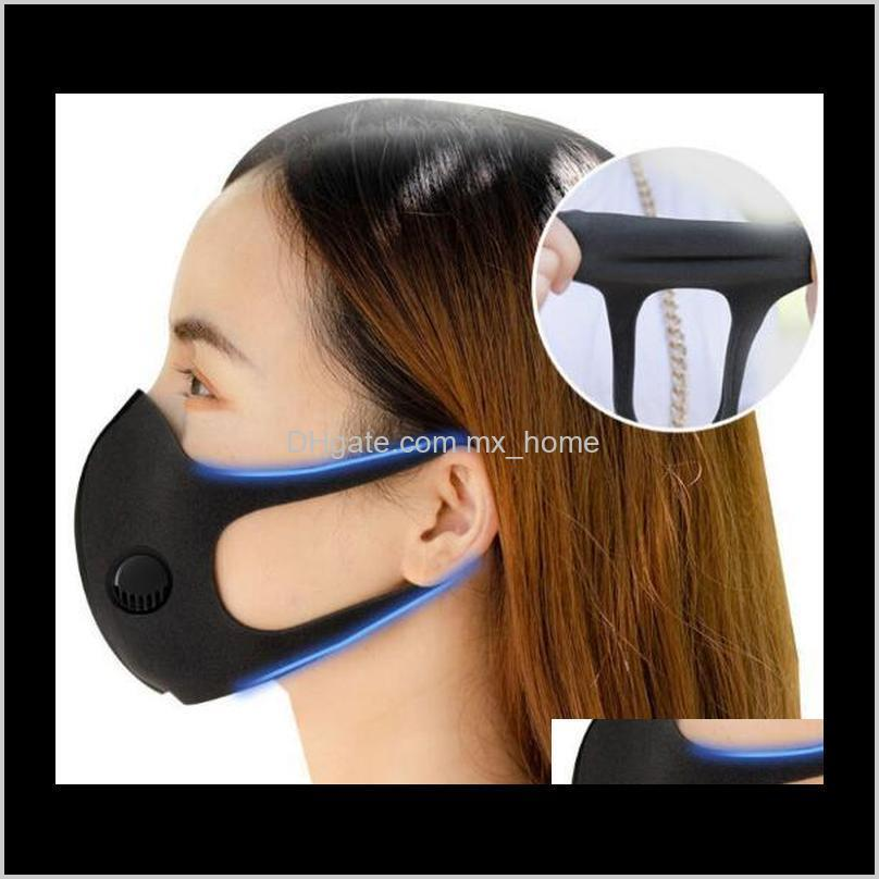ice silk face mask with breathing valve washable mask reusable anti-dust pm2.5 protective masks black recycle designer valve mask