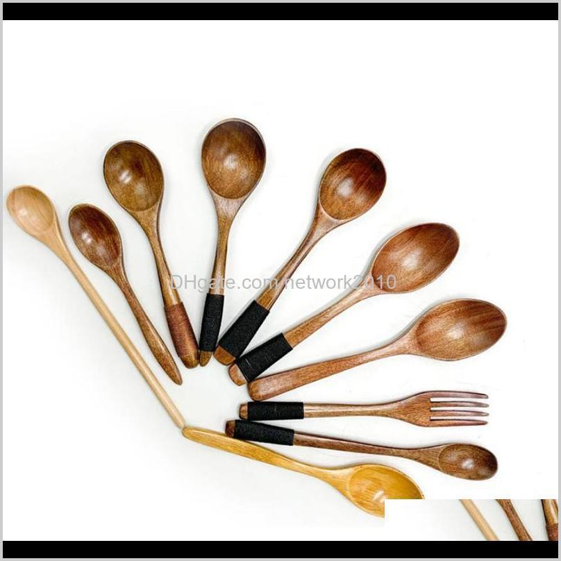 1pc Soup Teaspoon Mixing Long Handle Wooden Spoon Bamboo Cooking Tool Desserts Salad Forks