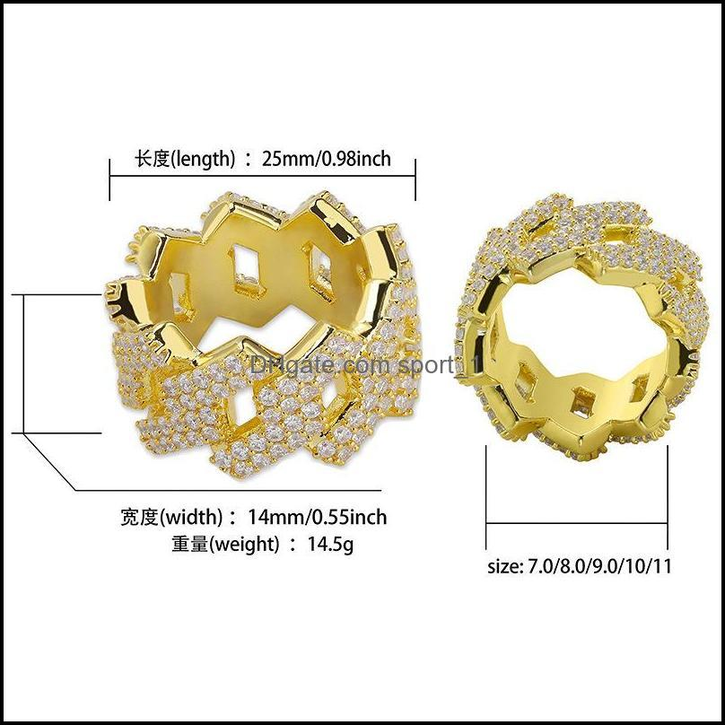 18K Gold and White Gold Plated Environmental Copper Hollowed Mens Full Diamond Iced Out Ring Band Hip Hop Jewelry Gifts for Man