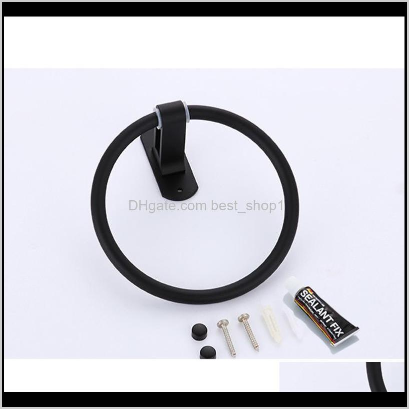 1pc punch towel rack holder round ring hanging rack space aluminum material towel ring for home bathroom