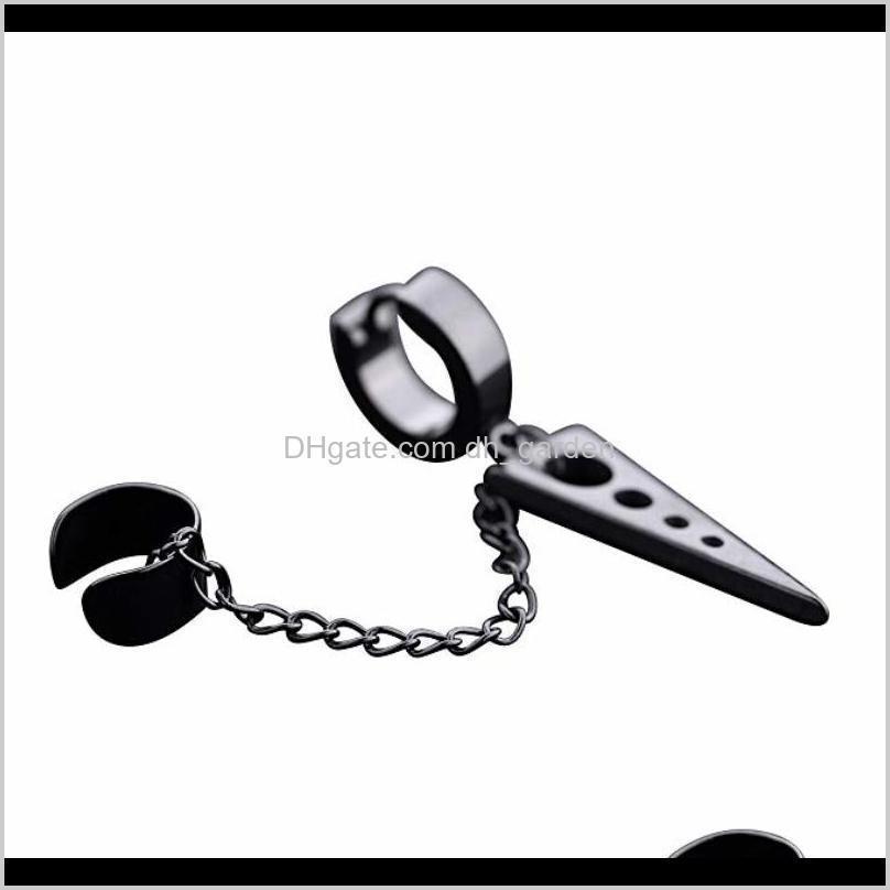 punk cuff earring stainless steel ear cuffs triangle dangle chain huggie hoop earrings for men women unisex