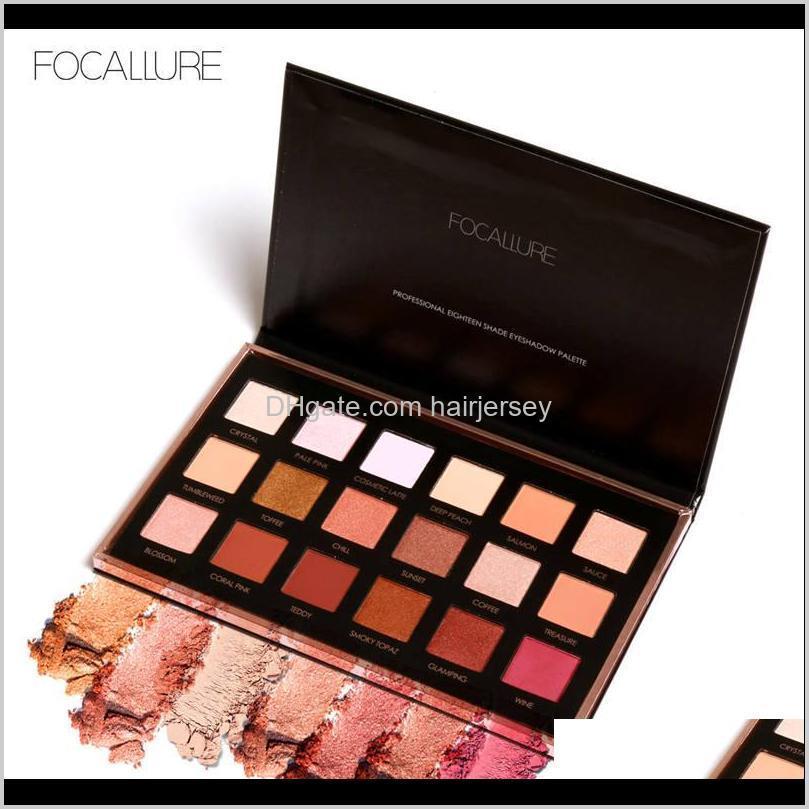 focallure 18 colors eyeshadow palette matte diamond glitter matallic eye shadow in one palette blush makeup set for beauty
