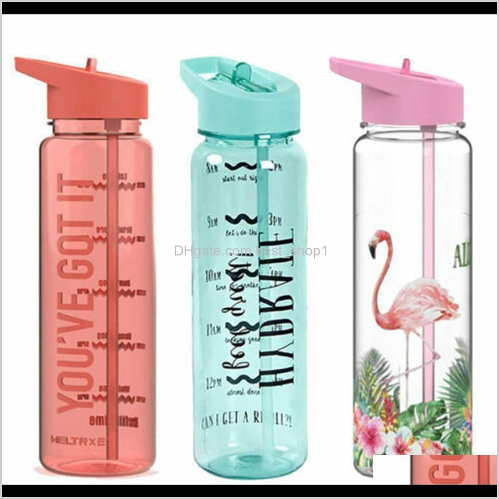 750Ml Motivational Water Bottle Sports Time Markings Tracker Bpa Free Flip Straw Cup Flamingo Outdoor Cup Three Colors