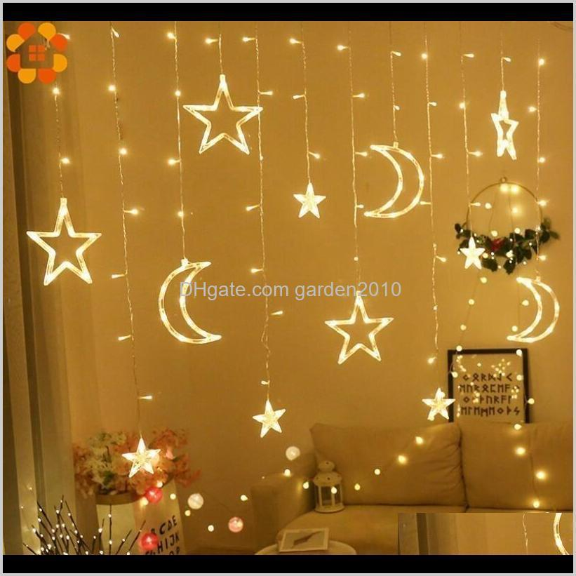 1set 3 styles ramadan star&moon ac 220v led garland curtain string lights eid mubarak decoration wedding birthday party supplies