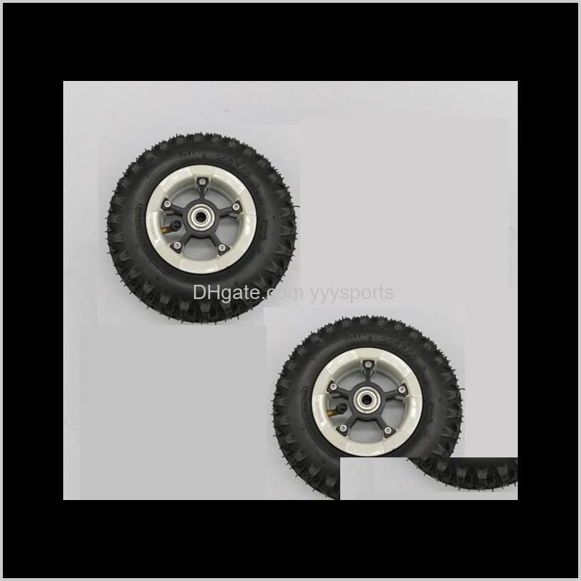 2 pieces of 8 inch pneumatic tire black color electric mountainboard skateboard stroller scooter rubber inflatable wheel