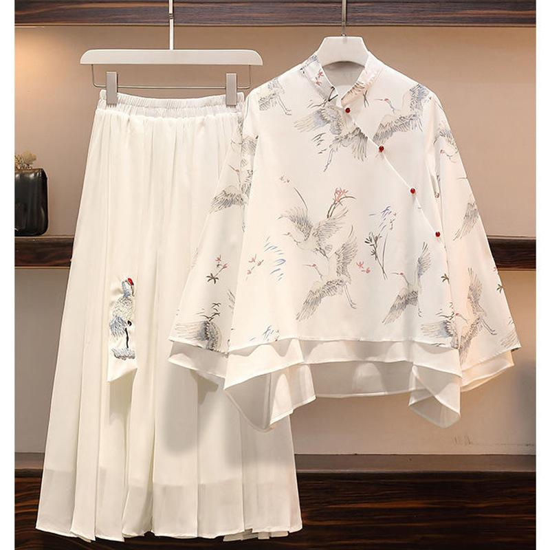 Large size women's Chinese style dress 2021 spring and summer antique fat sister thin two-piece suit Han clothing,