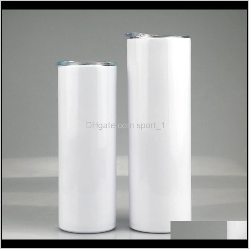 sublimation straight skinny tumbler stainless steel blank white skinny cup with lid cylinder bottle fast sea shipping ahc3606
