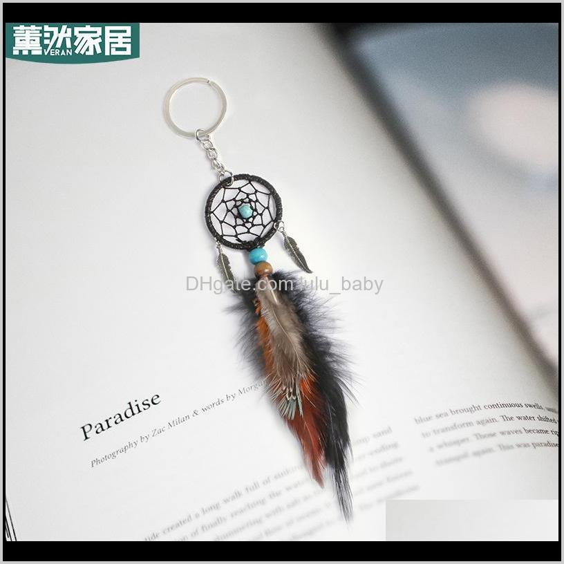 Mini Dream Catcher Keychain Creative Car Accessories Hanging Handmade Vintage Feather Decoration Ornament Party Gifts Keychains 1242