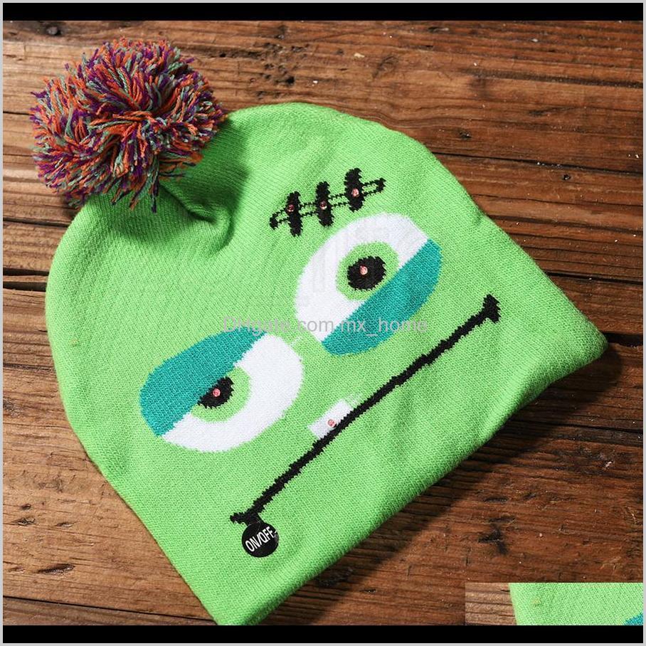 led halloween knitted hats kids baby moms warm beanies crochet winter caps for pumpkin skull cap party decor gift prop rra2142