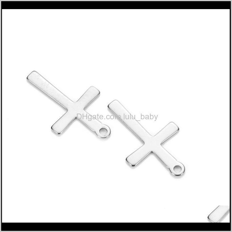 50pcs 12*20mm stainless steel crosses charms fit necklace floating crucifix charms handmade pendant diy jewelry making