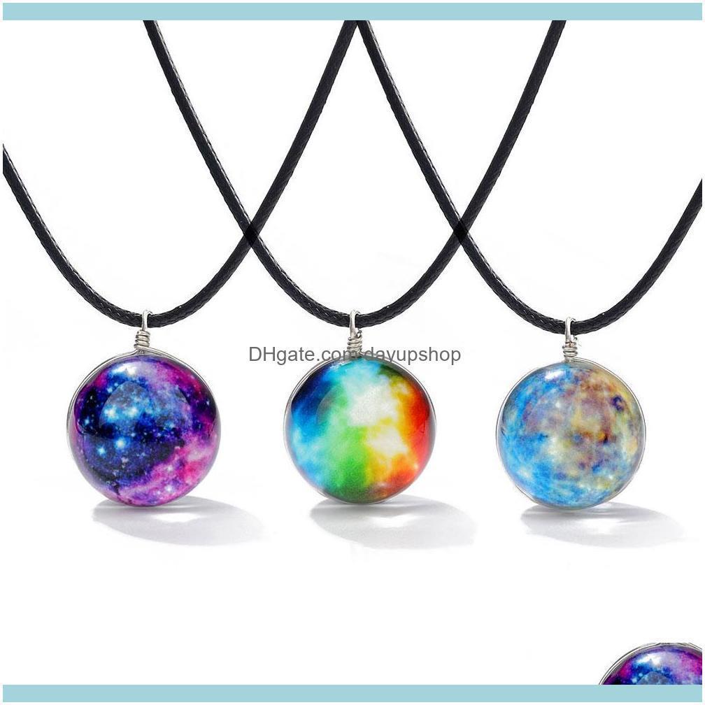 New Handmade Luminous Glass Ball Couple Necklace For Womem Men Galaxy Pattern Cosmic Fantasy Glass Globe Leather Chain Pendants