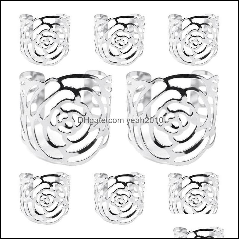 Napkin Rings, 8 Pieces Rose Buckles For Wedding, Birthday, Christmas, Christening, Table Decoration Rings