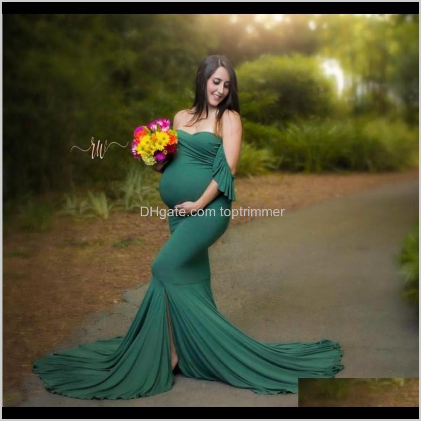 mermaid maternity cotton dresses photo shoot pregnant women sexy shoulderless pregnancy baby shower photography props clothes lj201114