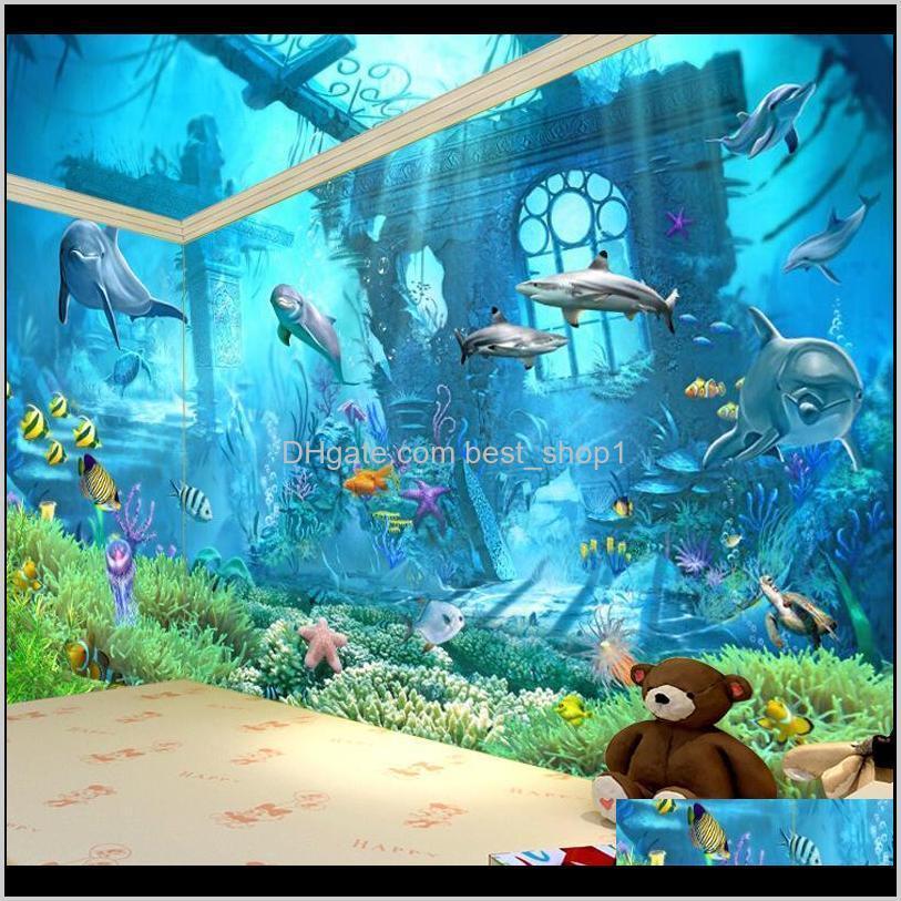underwater world mural 3d wallpaper television kid children room bedroom ocean cartoon background wall sticker nonwoven fabric 22dya