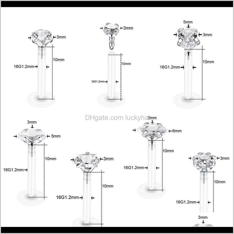 1pc bioplast flexible ear tragus cartilage piercings cz gem labret ring lip piercings conch helix ear stud piercings jewelry 16g