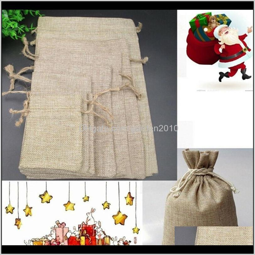 5pcs linen jute sacks drawstring gift bags 5 size bag organza wine bottle cover wrap gift pouch home storages wedding birthday1