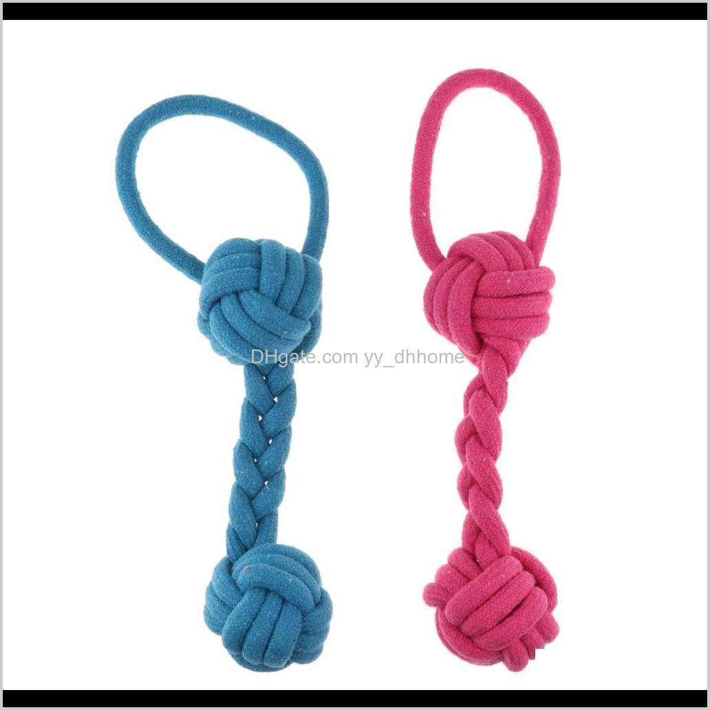 2pcs dog puppy pet chew toy knot braided rope strengthen teeth ball toy