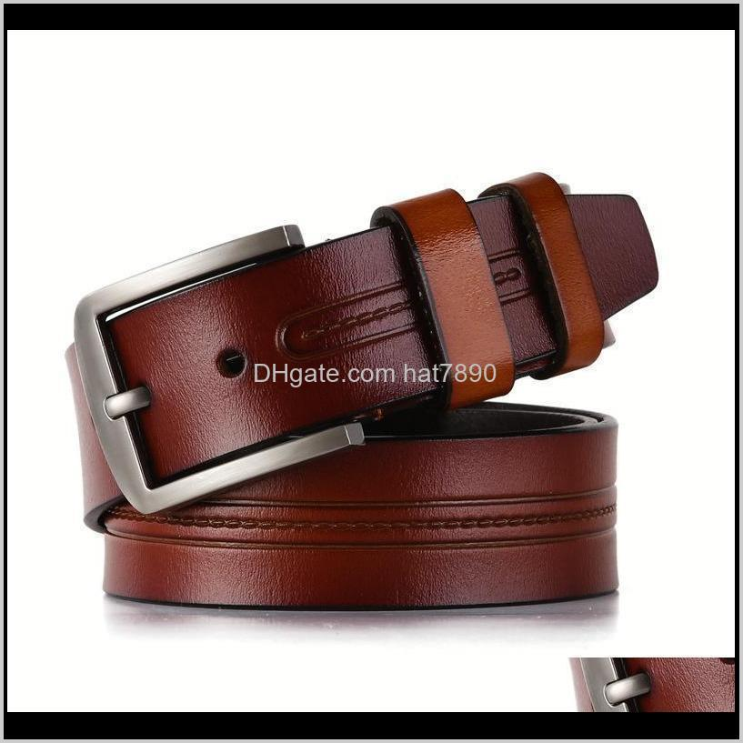 Leather, Needle Buckle, Belt Pure Cow Leather Young Men`s Student Jeans, Trouser Belt, Korean Personality Trendsetter