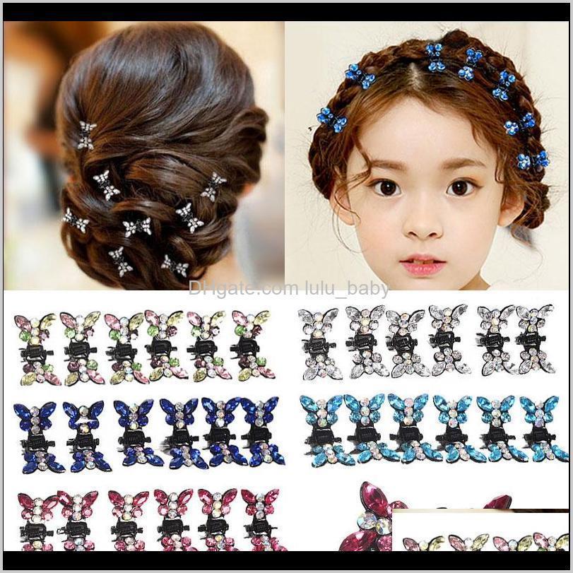 12pcs rhinestone butterfly small hair claw hairpins hair accessories ornaments hair clips hairgrip for women girls kids