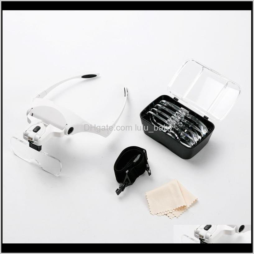 5 lens loupe eyewear magnifier with led lights lampinterchangeable lens 1.0x/1.5x/2.0x/2.5x/3.5x wearing magnifying glasses