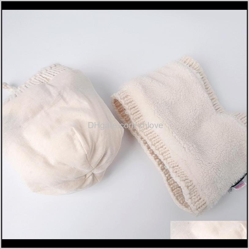 2020 autumn and winter new small round double-layer children`s hat baby hat baby boy girl knitted scarf set white pink1
