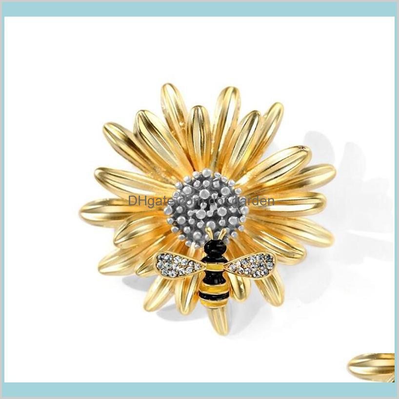 bee daisy enamel pin fashion girls brooch pins rhinstone brooches for women scarf clip insect pin accessories