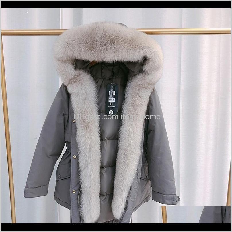 ftlzz 2020 winter donsjack echt vossenbont capuchon parka warm dikte verstelbare taille sneeuw overjas natuurlijke bontkraag jas 4