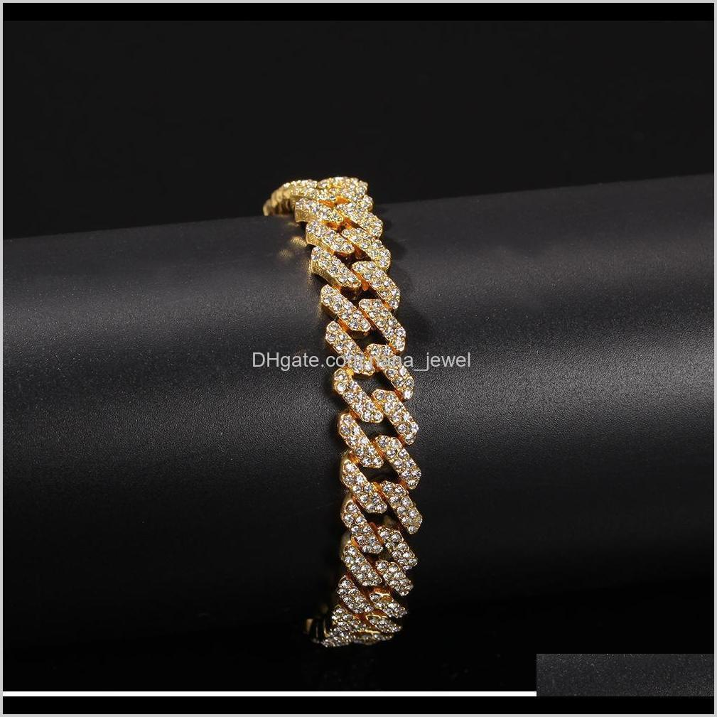 12mm miami cuban link chain necklace bracelets set for mens bling hip hop iced out diamond gold silver rapper chains women luxury