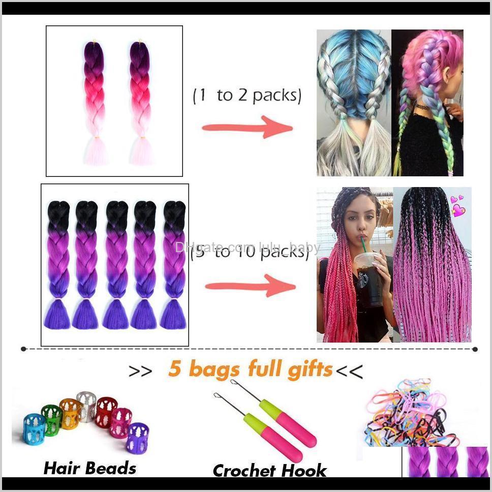 women 24 inch crochet braids box braids 100g/pc ombre jumbo braids synthetic braiding hair extensions headwear