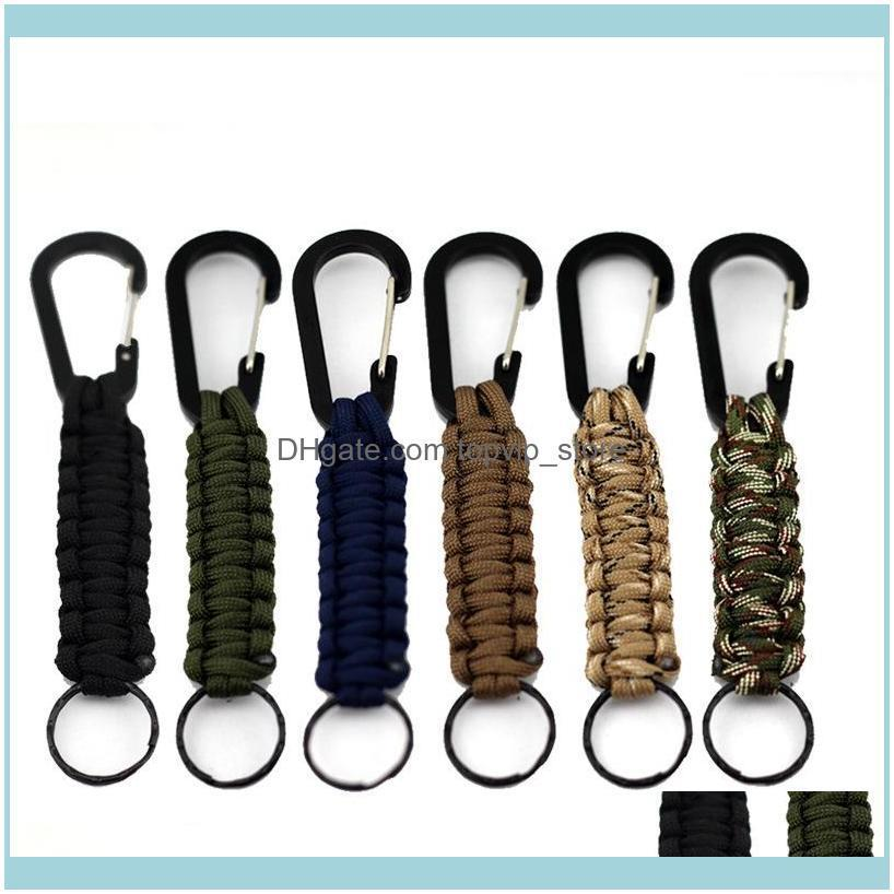 Outdoor Gear Carabiner Survival Key Ring Kits Escape Paracord for Hiking Camping Travel Key Chain Mountaineering Buckle 10pcs