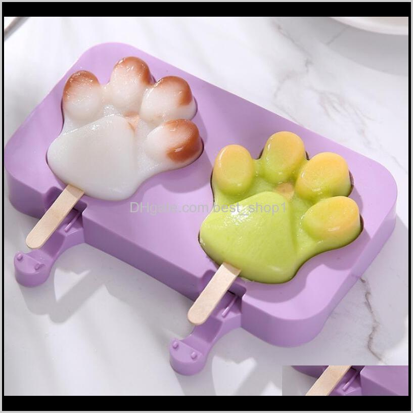 cute silicone ice cream mold purple snowman mould one-piece homemade popsicle tray diy bear paw oval ice cube ewd2927