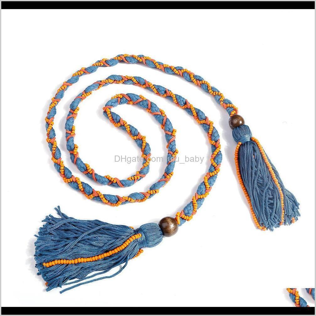 bohemia fashion vintage hand-woven tassel necklace headband beads rope double use collar necklace belt s1026