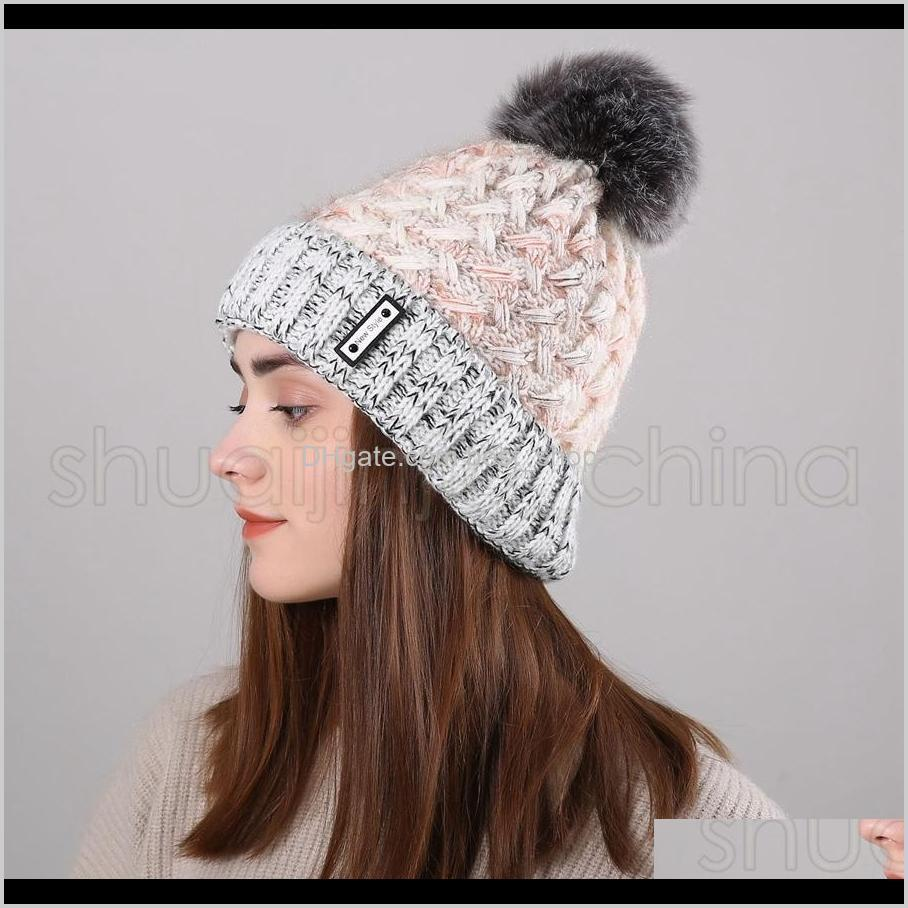 Tricot Chapeau Femme D/'Hiver Femme Beanie Ski Casual Cap Large Fourrure Pompon Pom MW