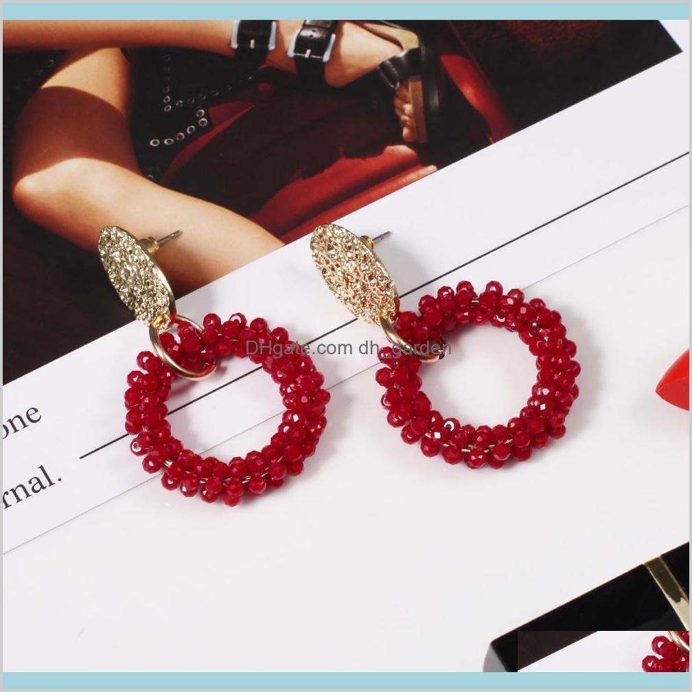 new arrive trendy women earring charm solid beads crystal pendant simple fashion dangle earring for holiday beach gift