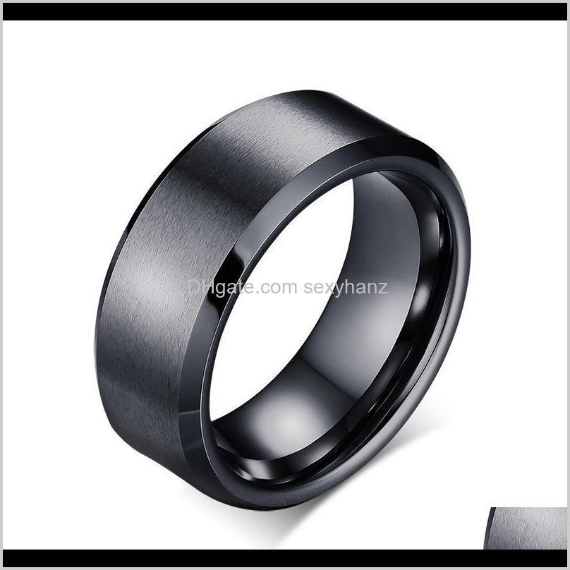 mens rings 8mm wedding band black pure tungsten carbide engagement ring for men matte jewelry bague homme
