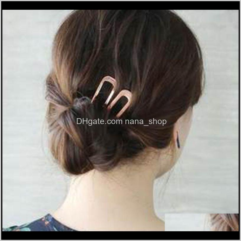 2021 fashion japanese ins style metal plate hairpin is very simple and simple, u-shaped small hairpin headdress ball head pin