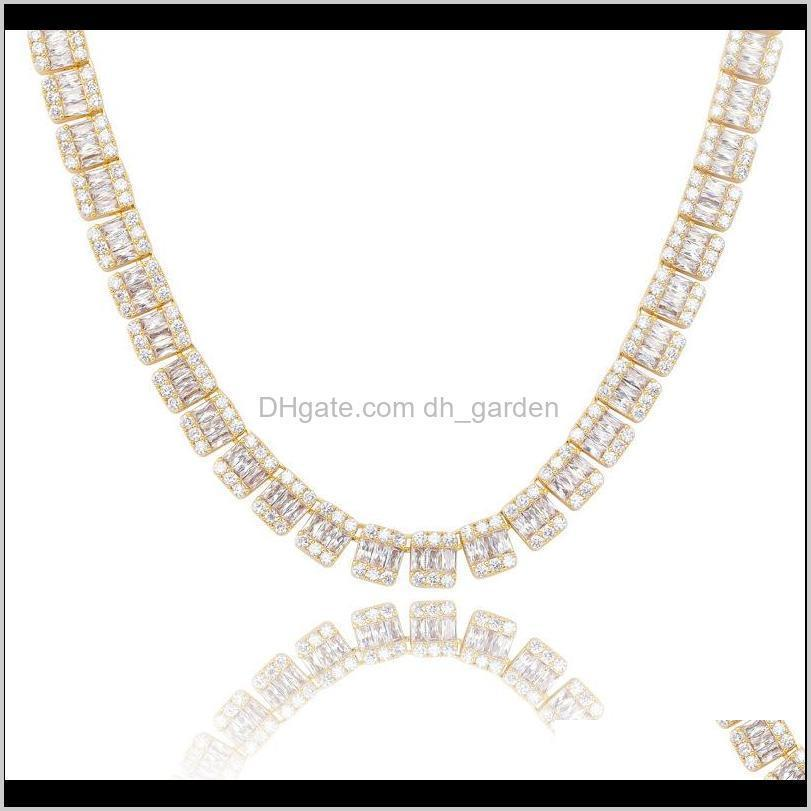 new deigner gold plated mens iced out full diamond choker tennis chain necklace for men bling square cubic zirconia chains hip hop