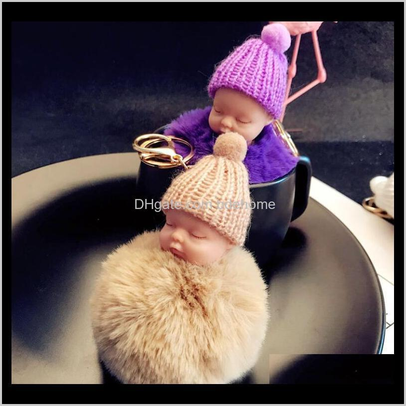colorful cute sleeping baby doll keychain pompom rabbit fur ball key chain car keyring key holder bag pendant charm accessories best