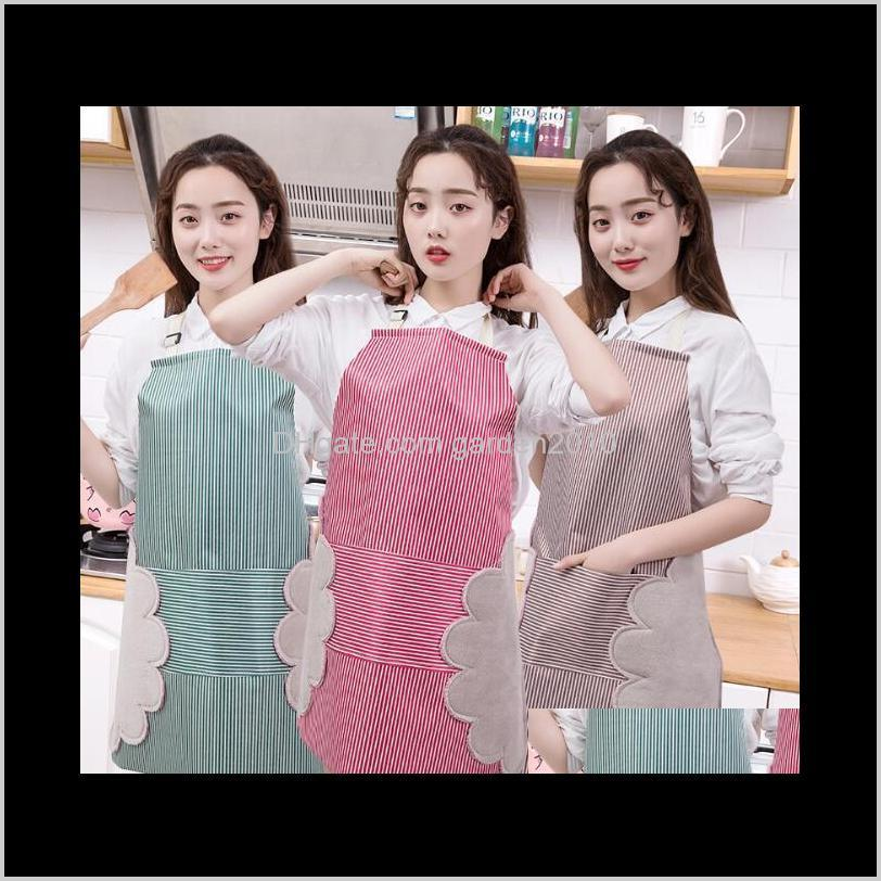 adjustable coral fleece apron can wipe hands stripe loincloth with pocket waterproof and oil-proof cooking cover aprons home textiles