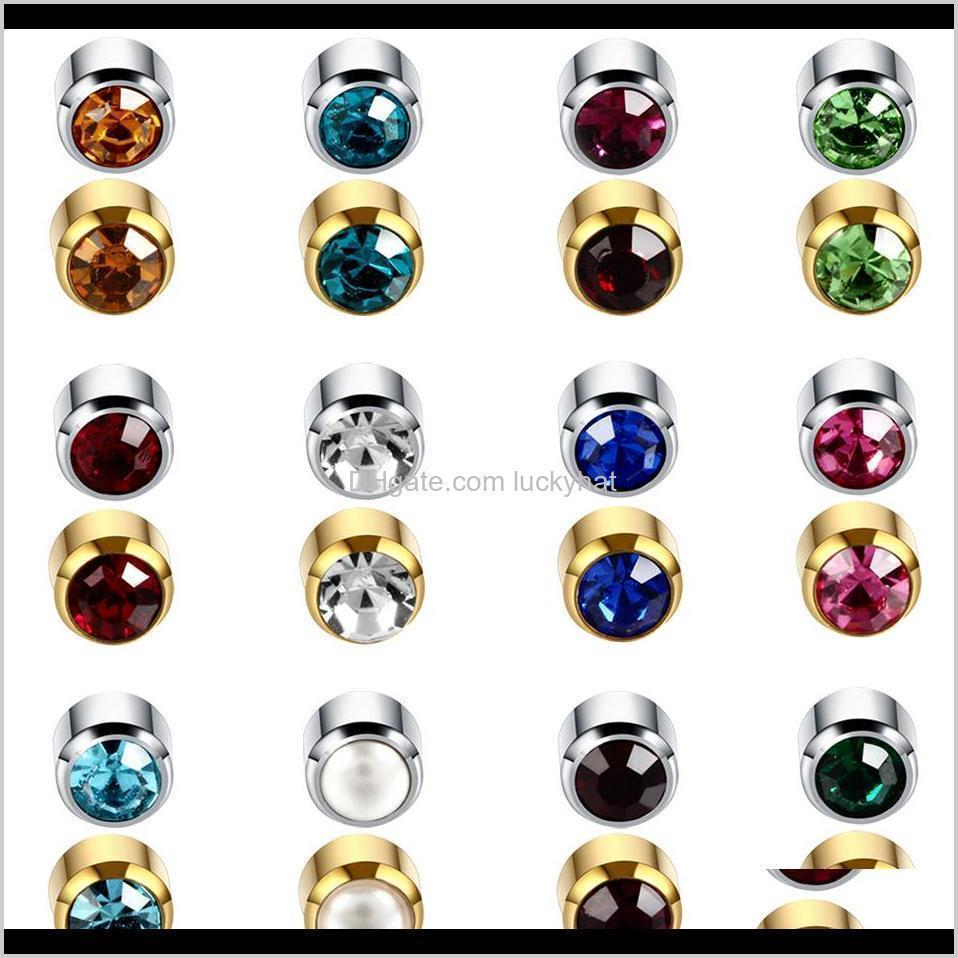 12pairs/lot steel sterile ear piercings gold earrings stud birthstone cz gem ear cartilage tragus piercing for earring gun