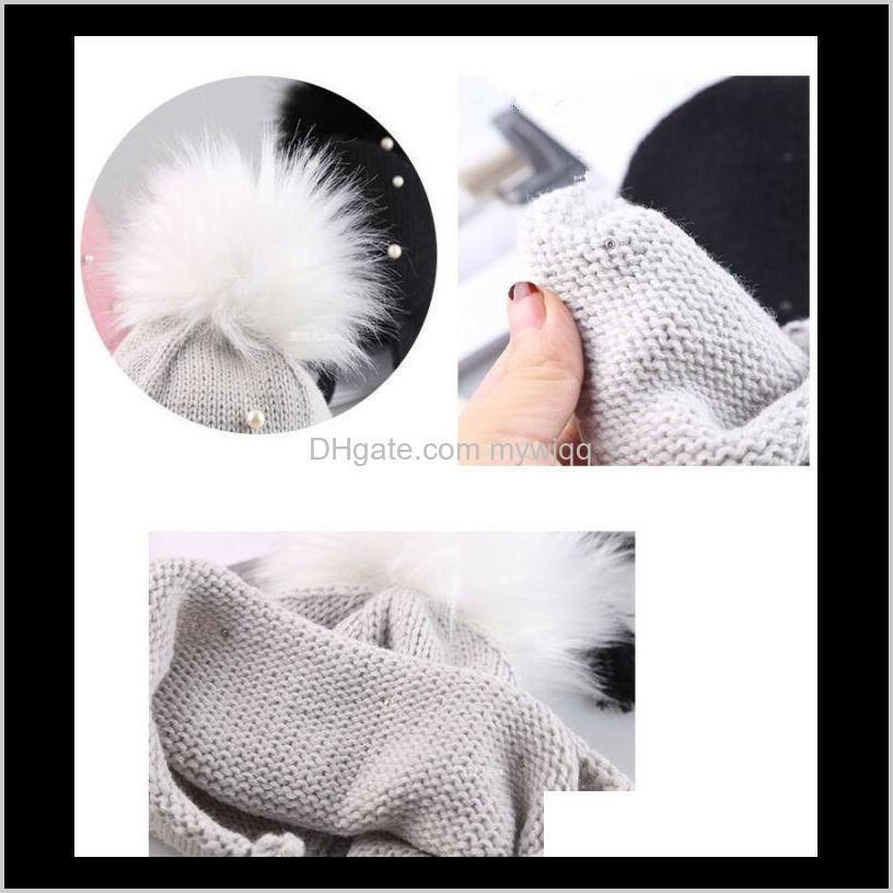 2020 winter warm newborn infant kids hats baby girls hats hair ball earbud pearl crochet boys warm knit caps for girls1