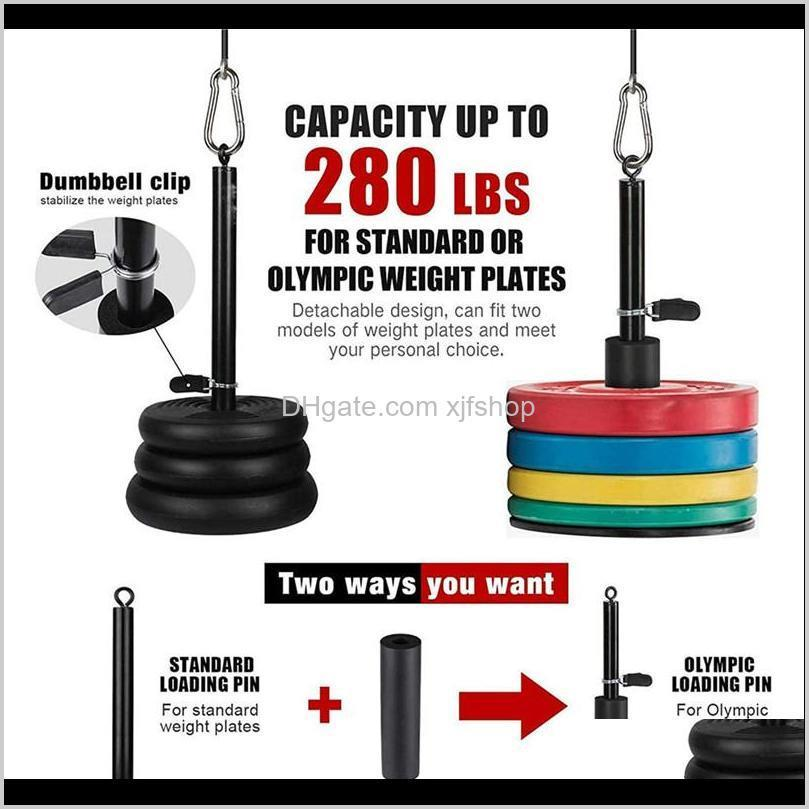 12 set home workout gym equipment fitness lift pulley system kit with loading pin tricep strap bar cable rope muscle strength training