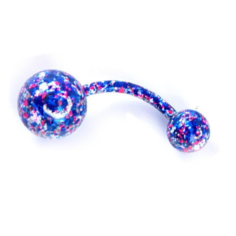 Est Arrival Body Jewelry Spotted Coloured Navel Ring Stainless Steel Belly Bar Rings Navel Piercing Jewelry Fashion