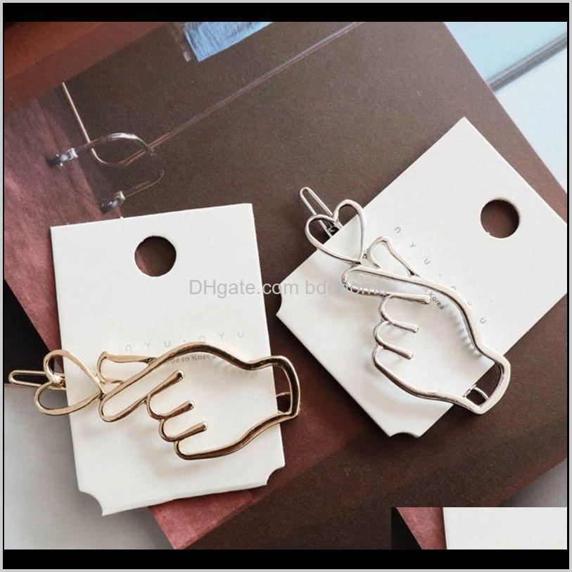 korean creative finger heart shaped bobby pins women girls polished metallic gold silver hair clips hollow geometric barrettes