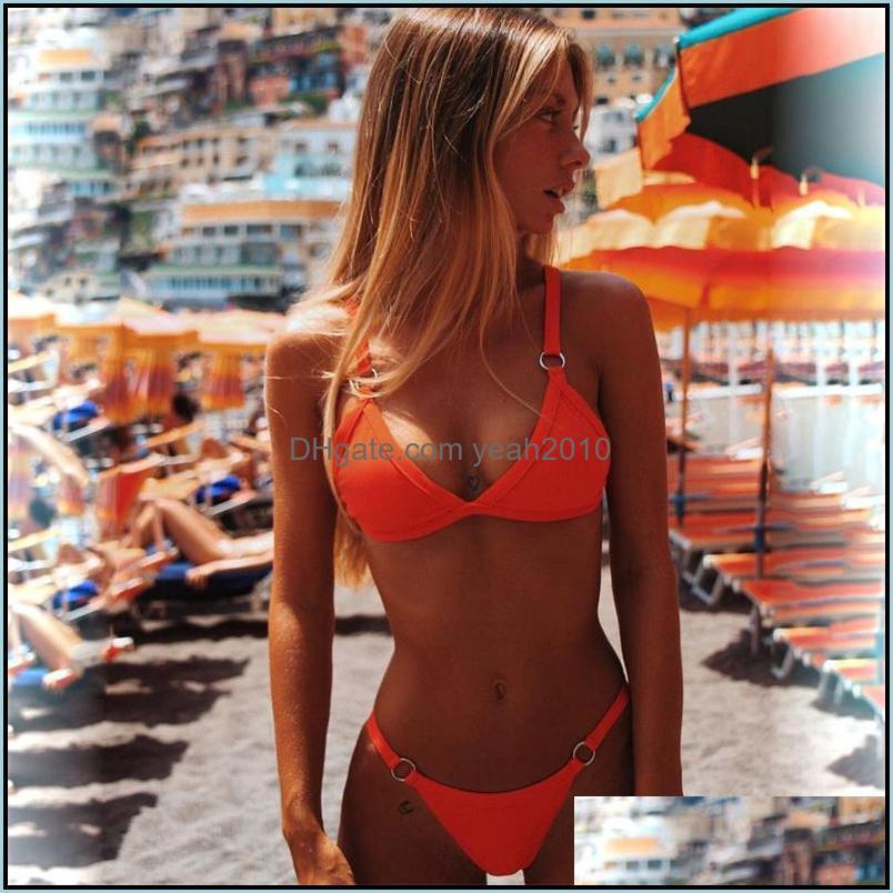 Creative Color Thong Triangle Bikini Set European American Style Women Sexy Beach Wears Trendy Durable Bathing Suit Wholesale
