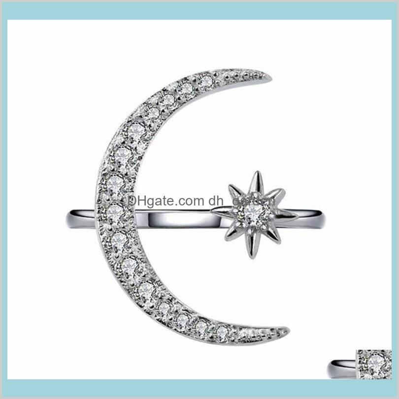 luxurious natural gemstones moon and star adjustable ring white glod filled 925 sterling silver romantic diamond ring jewelry