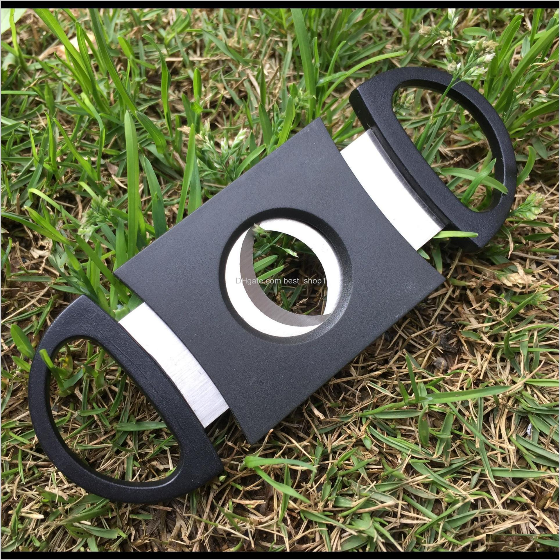 wholesale portable black plated double blades cigar sharp cutter 9*4cm mini pocket gadgets stainless steel cigars knife dh0578 t03