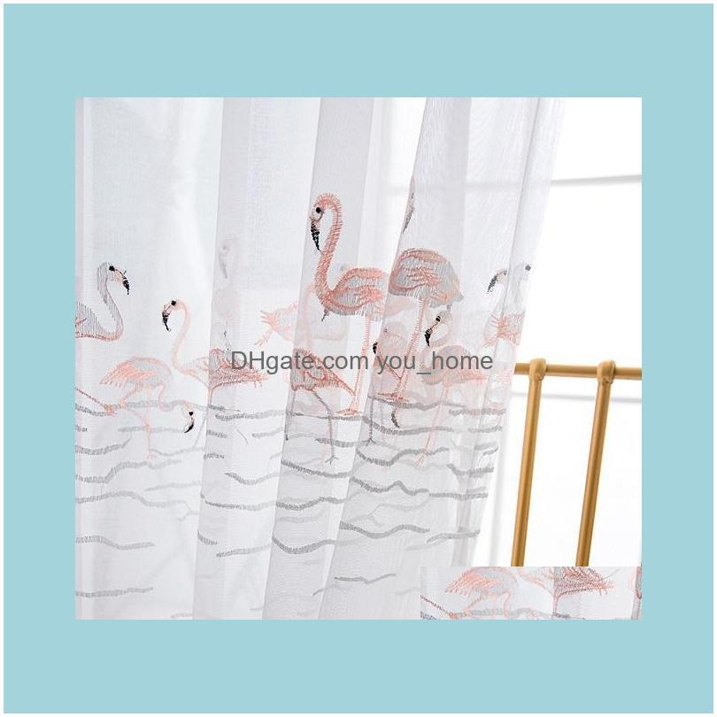 Flamingos Tulle Voile White Embroidered Curtain Yarn For Bedroom Kitchen Living Room Balcony 1 Piece & Drapes