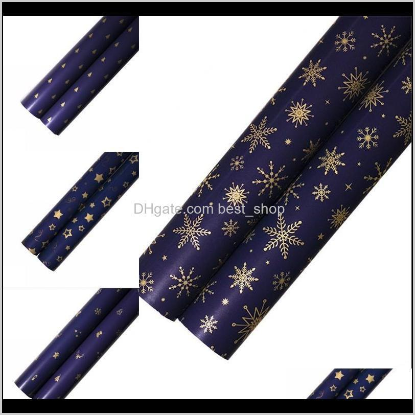packing paper gift decorative metallic color dark blue papers stars christmas tree pattern printing gold party gifts 0 66wk n2